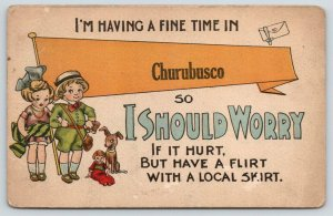 Having a Fine Time in Churubusco Indiana~Hurt Flirt With Skirt~1915 Pennant PC