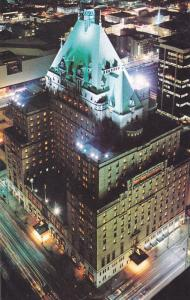 Aerial View, Night Scene, Hotel Vancouver, VANCOUVER, British Columbia, Canad...