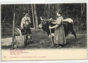 germany, Bavarian Farmers with Cow (ca. 1899)