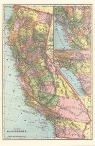 California Map Pacific Ocean USA Rare Postcard