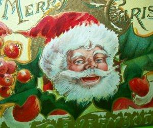 Antique Christmas Postcard Santa Embossed Art St Nicholas Series 3 Original 1908
