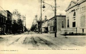 NJ - Camden. Broadway looking north from Line Street, circa 1900