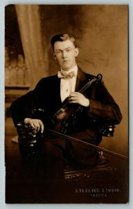Tacoma RPPC~Young Violinist Dressed to the Nines~Holds Instrument & Bow~c1910