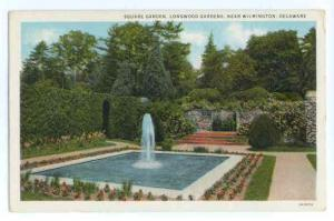 Square Garden, Fountain, Longwood Gardens near Wilmington,DE White Border
