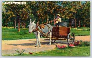 Camdenton Missouri Publisher~Donkey-Drawn Ozark Express w/Barrel~1940s Linen
