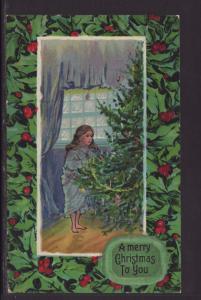 A Merry Christmas to You,Girl,Tree Postcard