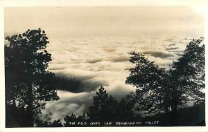 RPPC of Fog Over San Bernardino Valley California CA
