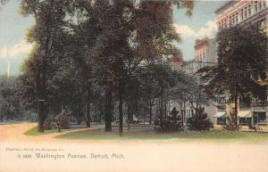 Detroit Michigan~Washington Avenue~Men Sitting on Bench in Park?~c1905 Rotograph