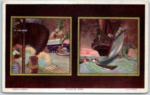 Vintage Chicago Illinois Postcard North Wall - MARINE BAR Murals c1910s Unused