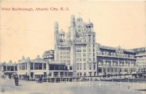 Atlantic City New Jersey~Hotel Marlborough~People on Boardwalk~1911 B&W Postcard