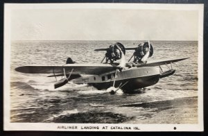 Mint USA Real Picture Postcard Airliner Landing At Catalina Island