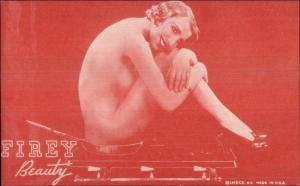 Nude Sexy Showgirl Pin-Up Exhibit Mutoscope Card RED TINT SERIES FIREY BEAUTY