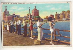 P861 1937 gals and men fishing off million dollar pier, atlantic city new jersey