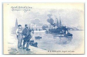 Postcard Red Star Line, Antwerpen NY SS Zeeland 1905 Artist Signed Cassiers T23