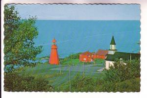 Red Lighthouse and Church, Ste Marthe de Gaspe, Quebec