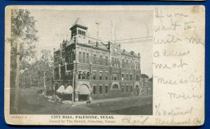 Palestine Texas tx City Hall 1908 published by the Herald old postcard