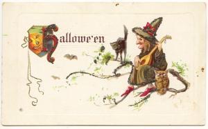 Halloween Witch Owl Black Cat Pumpkin Black Cat Embossed Postcard