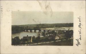 Birdseye View of Bridge 1914 Lynn MA Cancel Tinted Real Photo Postcard