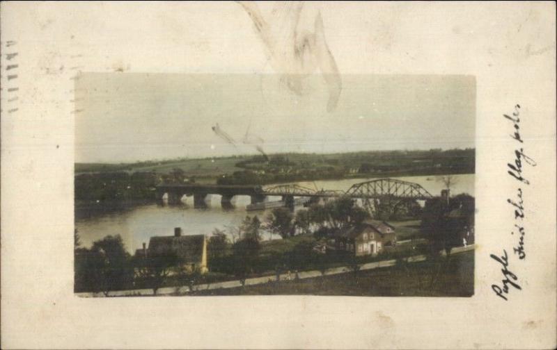 Birdseye View of Bridge 1914 Lynn MA Cancel Tinted Real Photo Postcard