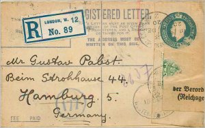 Entier Postal Stationery 4p London for Hamburg in 1920