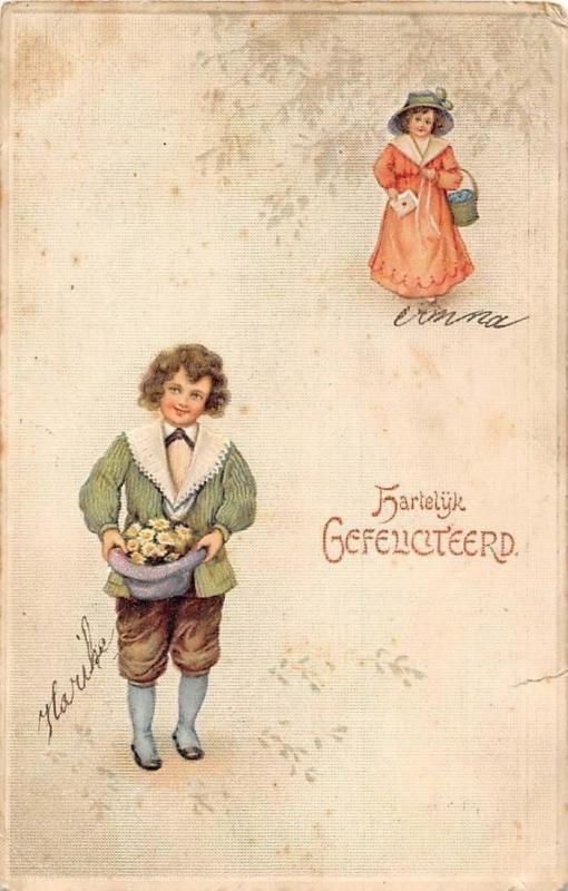Postcard Hartelijk Gefeliciteerd! Happy birthday! fantasy fancy boy, lady