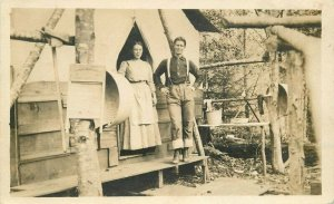 C-1910  Camping Tent Washboard Outdoor life RPPC Photo Postcard 6009