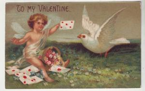 PC31 JL postcard old valentine cupid gives to pigeon mail