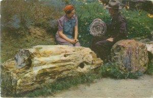 1942 Gingko Petrified Forest Ellensburg WA Union Oil 76 Postcard 170, Couple