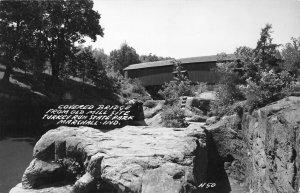 Marshall Indiana~Covered Bridge @ Turkey Run State Park~RPPC 1940s Postcard