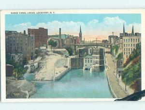 W-Border BARGE CANAL LOCKS Lockport - Near Buffalo & Niagara Falls NY i1461