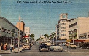 Florida Miami Beach Famous Lincoln Road and Collins Avenue Curteich