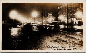 Great White Way New Westminster BC City Hall Kings Hotel c1911 RPPC Postcard E73