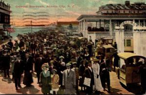 New Jersey Atlantic City Scene On The Crowded Boardwalk 1912