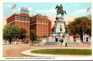 Virginia Richmond Washington Monument and Hotel Richmond 1923 Curteich