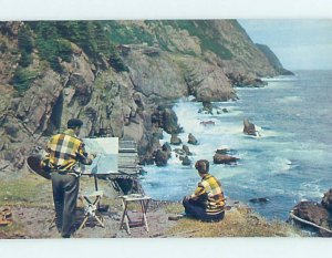 Pre-1980 ARTIST PAINTS PAINTING ON SHORELINE St. John'S Newfoundland NL AD6083