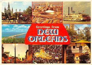 USA Greetings from New Orleans Jackson Square Steamboat Natchez Carnival