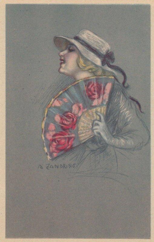 ART DECO ; ZANDRINO ; Woman with a fan; #2 , 1910-20s
