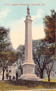 JANESVILLE ROCK COUNTY WI~CIVIL WAR OF REBELLION-SOLDIERS MONUMENT-POSTCARD