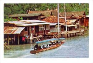 Villangers houses on a Khlong, Thailand, 40-60s