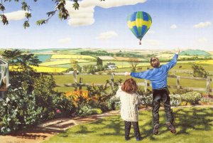 Art Postcard, Springtime by Mark Pacan No.70 Hot Air Ballon, Children 9Z
