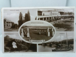 Vtg Multiview RP Postcard Arbroath Bathing Pool Entrance to Promenade  1941 WW2