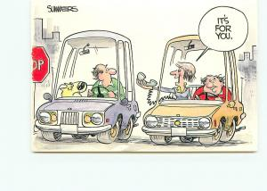 Postcard Summers Cartoon Humor Mixed Nuts Old Cars w/ Dog Phone  # 4102A