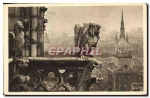 Postcard Old Paris Strolling Notre Dame de Paris Detail of the Facade North r...