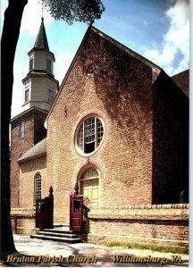Front Bruton Parish Church Williamsburg Virginia Chrome Postcard