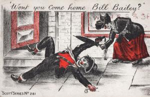 Bill Bailey Drunk Tramp Alcohol Clown Red Nose Antique Comic Postcard