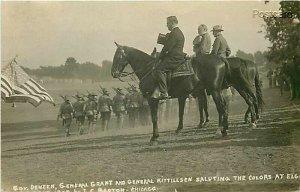 Military, Governer Deneen, General Grant, General Kittillsen, Saluting , RPPC