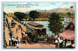 International Bridge Between El Paso TX & Juarez Mexico Postcard Trolley People