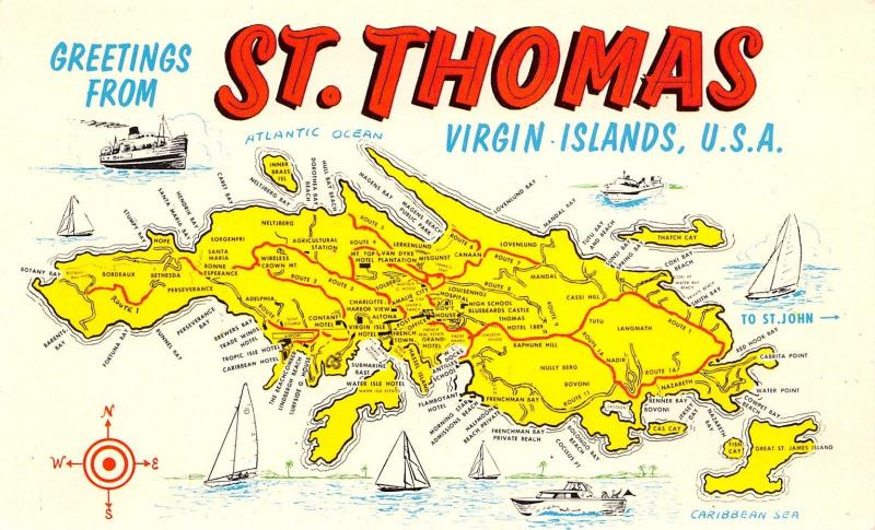 St Thomas Virgin Islands~Highway Map Postcard~Compass ...
