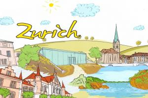 Art Postcard, Zurich, Switzerland, Landmarks, City, View, Travel 7i