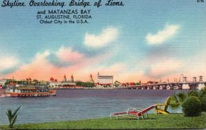 Florida St Augustine Skyline Overlooking Bridge Of Lions and Matanzas Bay